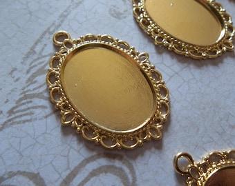 Fancy Gold Plated Oval 25 X 18mm Setting Pendants - Qty 6