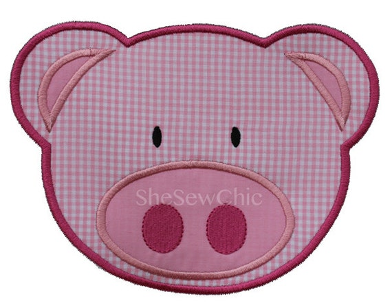 Pig Applique Machine Embroidery Design (023)