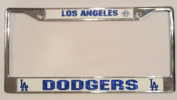 los angeles dodgers crystal license plate frame