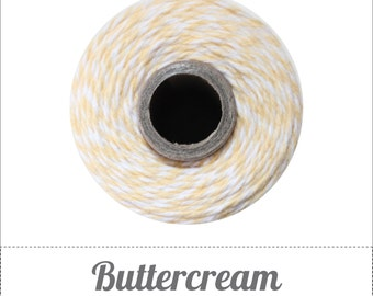 Buttercream - Light Yellow and White Baker's Twine by The Twinery - 240 yards