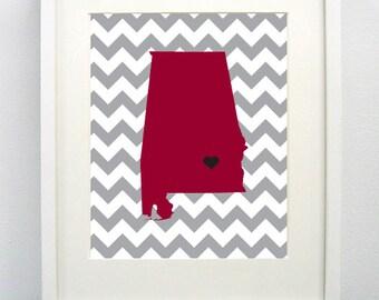 Troy, Alabama State Giclée Map Art Print - 8x10 - Graduation Gift Idea - Dorm Decor
