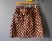 1970's Green and Red Floral Skort