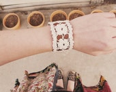 Off White Lace Leather Bracelet - Floral Brown Leather