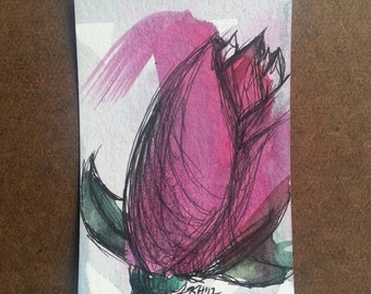 Tulip Expressions - Ink and Watercolor Art Card