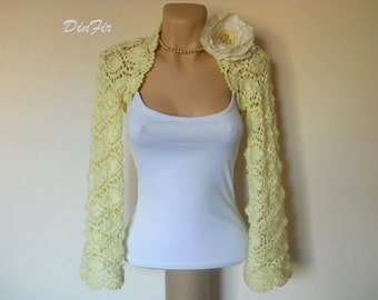 LIQUIDATION Stock SALE 30% OFF / Women Shrug Bolero Wedding Bridal Accessories Crochet Gift Bridesmaid Hand Knitted Jacket Cardigan Capelet