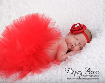 RED  TUTU with vintage style headband....newborn tutu....baby tutu....photography prop....size nb-24 month available