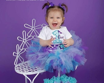 Turquoise and Purple tutu with matching headband.....birthday tutu, newborn tutu, baby tutu headband