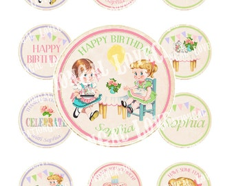 Vintage Girl Doll Children Tea Teapot Cup Party Celebrate Birthday Cupcake Cake Topper Circle Label Tags Digital Collage Sheet Images Sh296