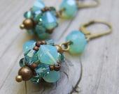 Aqua Earrings - Sea Green Crystal Earrings - Swarovski Crystal Earrings - Blue Green Beaded Earrings - Aqua Bridesmaid Gift - Rustic Wedding