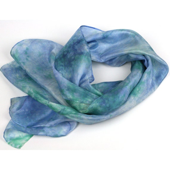 Hand Dyed Silk Scarf -  Blue, Mint Green, White