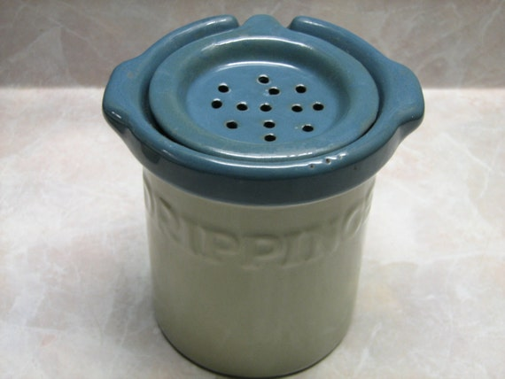 Bacon grease dripping jar pottery crock style urn