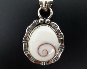 Handmade Sterling Silver and Shiva Eye Shell Pendant - Custom Made Sterling Shiva Shell Pendant - White Shell Pendant