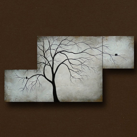 Multiple Canvas Painting Of Abstract Tree W Birds By