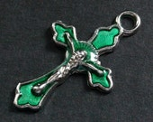 Green Enamel Cross in Silver. Rosary Cross Charm. Green Cross. Crucifix Charm. Rosary Supplies. 30x18mm Crucifix (1 pc)