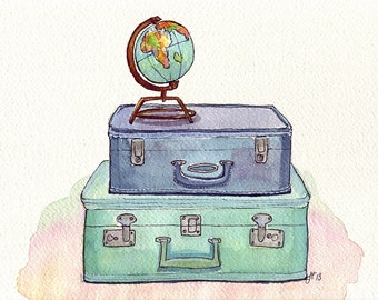 Watercolor Painting - Vintage Suitcases and Globe - Blue and Green Travel Wanderlust Illustration - 8x10 Print