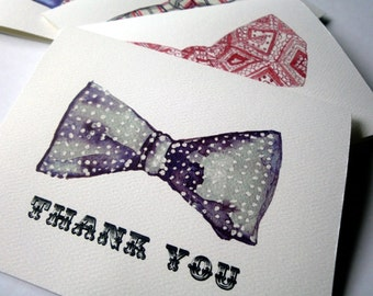 Mens Bowtie Thank You Notes - Retro Watercolor Men's Fashion Bow Tie Thank You Cards - Set of 12