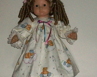 Baby Doll Ivory Flannel Bears riding Clouds Nightie with Slippers