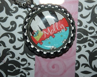 Zebra Personalized Bottle Cap necklace