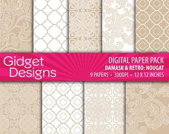 Taupe Digital Paper Pack Damask Patterns Scrapbook Paper Nougat Beige Nude DIY Wedding Bridal Shower Engagement Printable Paper