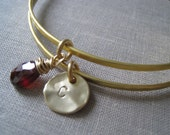 set of 2 initial bracelet with birthstone, personalized bangle, gift for her, hammered finish, nymetals, bridesmaid