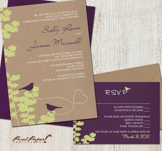 Wedding Invitation Suite: (Birds, Love Birds) Love Birds Wedding Invitation Suite DIGITAL