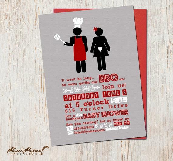 backyard bbq baby shower invitations by pixelpaper on etsy
