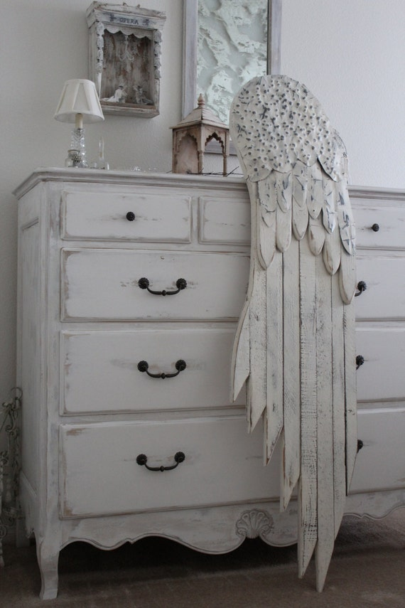 Wood Wings Wall Decor : Nordic angel wing feather salvage woodgalvanized by