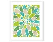 Absrtact Dahlia Flower Art Print - Modern Flower Wall Art -  Home Decor - Lime Green Teal Turquoise Tan - Nursery Flower Art