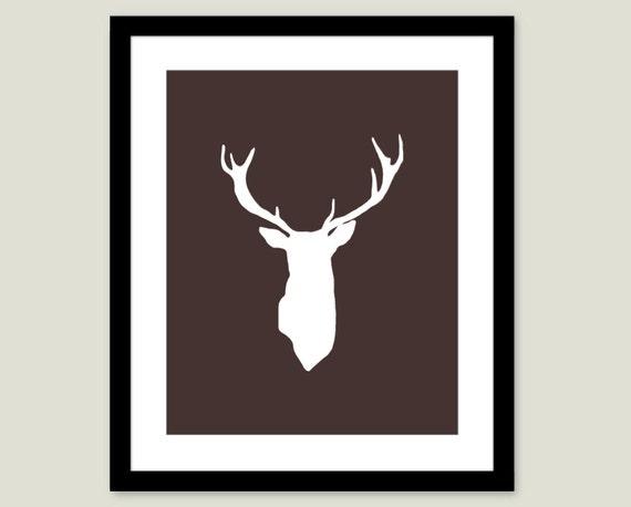 Deer Antlers Stag Digital Print Modern Home Decor Rustic