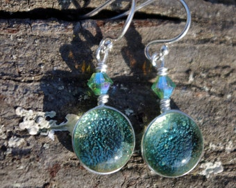 Jade green glass earrings