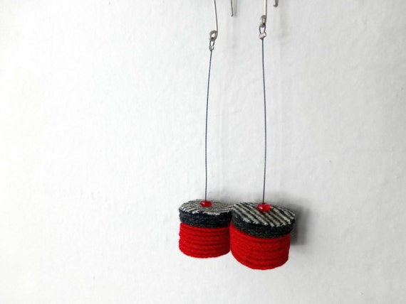 red, charcoal and stripe fabric felt bold geometric minimal earrings - contemporary jewelry