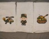 Baby boy military  burp cloth set marine navy airforce army burp cloth set
