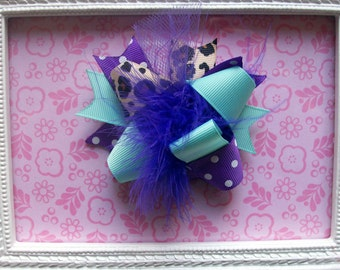 Baby Hair Bow---MINI Funky Fun Over the Top Bow---Chic Aqua & Leopard with purple