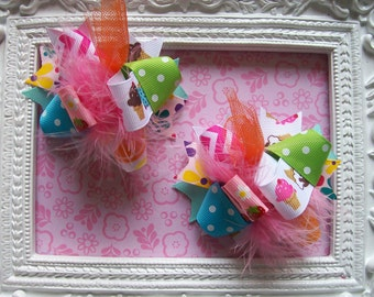 Themes of Summer---Hair Bows Set of 2---Mini Funky Fun Over the Top Bows--Flamingos, Flowers, Ice Cream, Strawberries