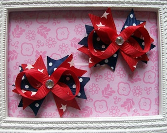 4th of July Hair Bows, Pigtail Bows, Hair Bows for Girls, 3 inches, 2 Hair Bows