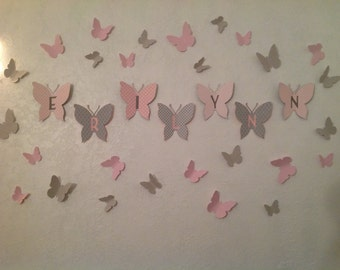 3D Paper Butterfly, Wall Art, 3D Butterflies, Nursery Wall Art, Butterfly Decal, BUY 2 Sets Get 1 FREE, Butterfly Nursery, Dorm Decor, Baby