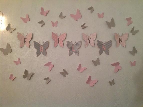 papillon en papier 3d art mural papillons 3d art mural. Black Bedroom Furniture Sets. Home Design Ideas