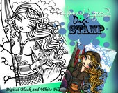 PRINTABLE Digi Stamp Natasha Surf Mermaid Coloring Page Fun Fantasy Art Hannah Lynn