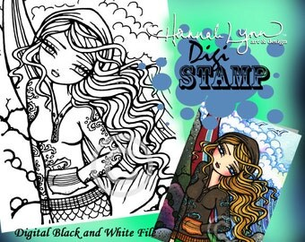 Pirate Mermaid Coloring Page Digi Stamp Fantasy Printable