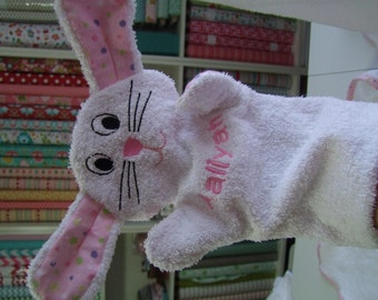 Bunny Puppet Wash Mitt Personalized