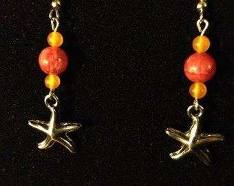 Orange and Red Starfish Earrings