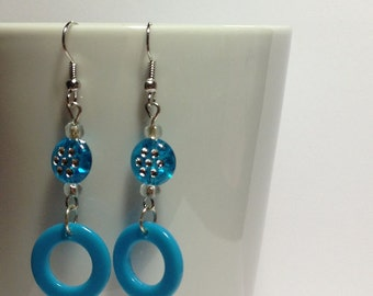 Sparkle Blue Hoop Earrings
