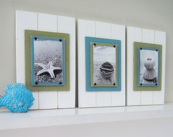 Set of 3 5X7 Plank Frames in White, Turquoise and Green
