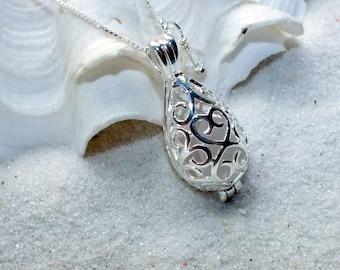 Beach Glass Jewelry - Wedding Locket -Filigree Necklace - Sea Glass Jewelry