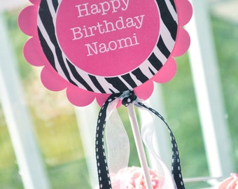 Cake Topper - Girl's 1st Birthday Party - Zebra Stripe - Pink, Black and White - Party Decorations