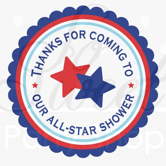 boys baby shower favor sticker labels sports all star red white and