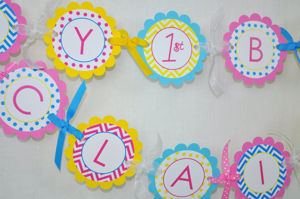 1st Birthday Banner With Photo Girls Birthday Banner 1st