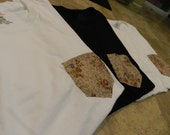 White Unisex Brown Floral Print Pocket Tee - Small
