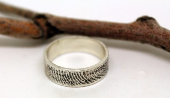 Custom 6mm 925 sterling silver fingerprint ring with straight rim. Classic, clean design, unique wedding or commitment band