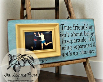 best friend sisters bridesmaid maid of honor personalized picture frame 8x20 true friendship going away miss you long distance